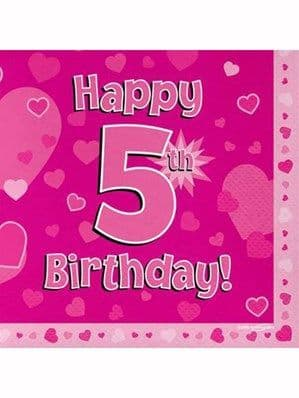 Napkins: Happy 5th Birthday Pink Hearts Luncheon Napkins 16pk