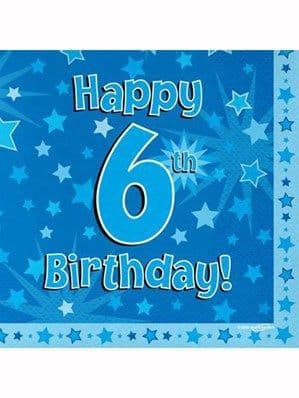 Napkins: Happy 6th Birthday Blue Stars Luncheon Napkins 16pk