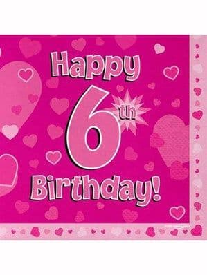 Napkins: Happy 6th Birthday Pink Hearts Luncheon Napkins 16pk