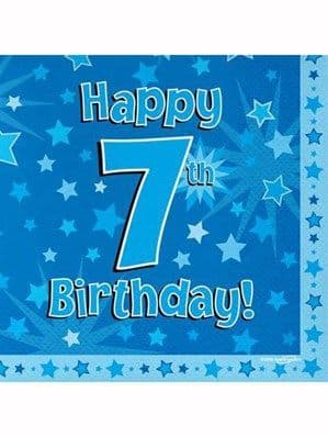 Napkins: Happy 7th Birthday Blue Stars Luncheon Napkins 16pk
