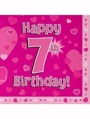 Napkins: Happy 7th Birthday Pink Hearts Luncheon Napkins 16pk)