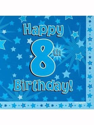 Napkins: Happy 8th Birthday Blue Stars Luncheon Napkins 16pk