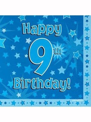 Napkins: Happy 9th Birthday Blue Stars Luncheon Napkins 16pk