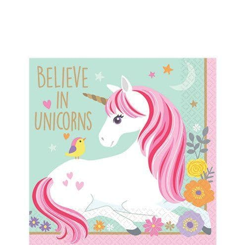Napkins: Magical Unicorn Paper Beverage Napkins - 25cm  x16pk