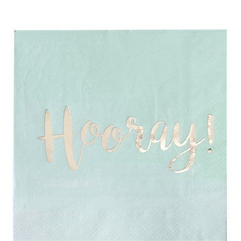 Napkins: Pick & Mix Gold Foil Mint Hooray Napkins - 33cm x20pk