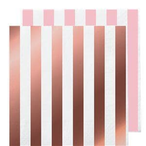 Napkins: Rose Gold Stripe Paper Napkins - 33cm x16pk