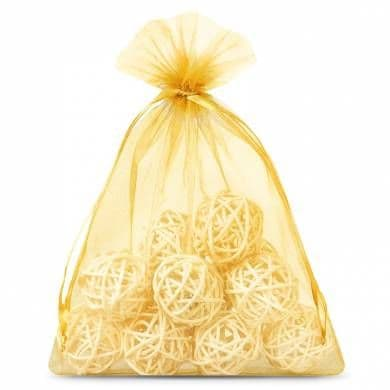 Organza Bags: Large Dark Gold Organza Favour Bags - 12pk