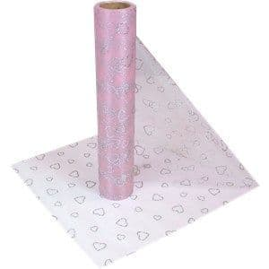 Organza Drapes:  Pink Heart Organza Sheer Roll - 10m