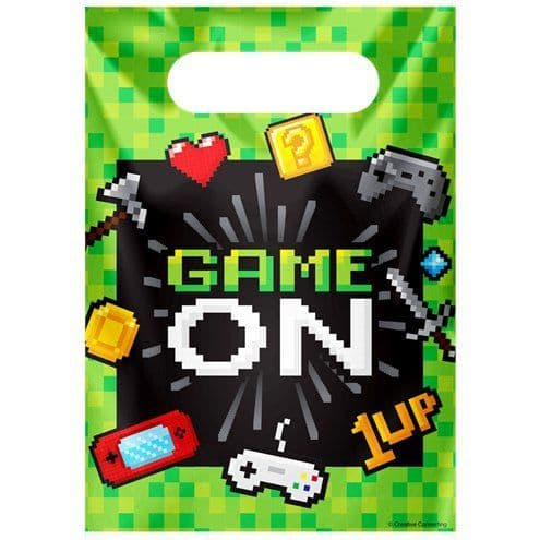 Party Bags: Game On Party Bags - Plastic Loot Bags x8pk