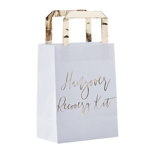 Party Bags: Gold Wedding Hangover Recovery Kit Bags x5pk