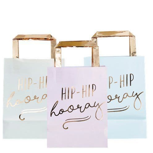 Party Bags: Pick & Mix Pastel 'Hip Hip Hooray' Pastel Party Bags - 26cm x5pk