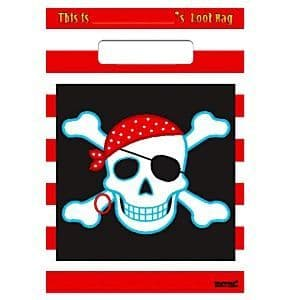 Party Bags: Pirate Party Bags - Plastic Loot Bags (8pk)