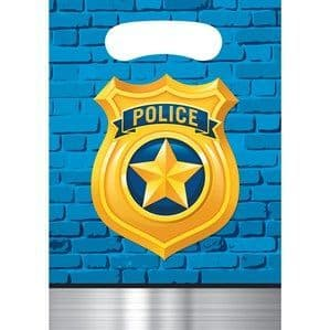 Party Bags: Police Party Plastic Party Bags 8pk