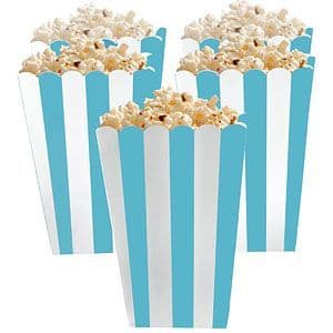 Party Boxes: Candy Buffet Popcorn Boxes - Bright Blue x5pk