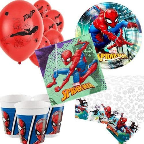 Party Packs: Spiderman Party Pack for 8, 16, 24 or 32 People (price shown for 8pk)
