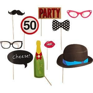 Photo Booth: 50th Birthday Photo Booth Props (10pk)