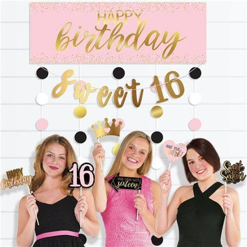 Photo Booth: Glitter Gold & Pink Sweet 16 Photo Booth Kit