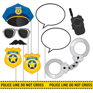 Photo booth: Police Party Photo Booth Props Set 10pce