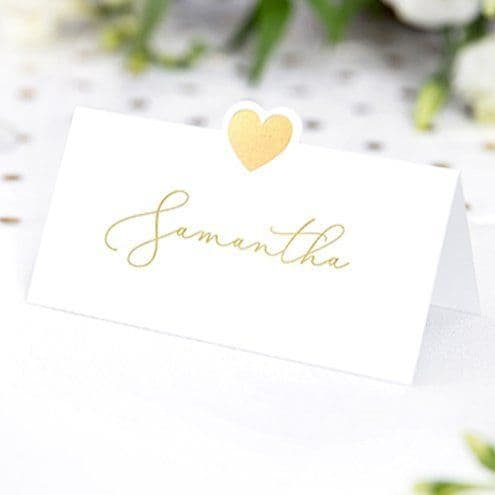 Place Cards: Gold Heart Wedding Place Cards x10pk