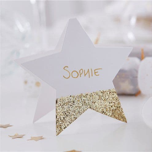 Place Names: Gold Glitter Star Place Cards - 10cm (6pk)