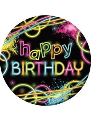 Plates: Glow Party Happy Birthday Paper Plates 8pk