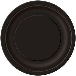 Plates: Jet Black Party Paper Plates 22.8cm (8pk)