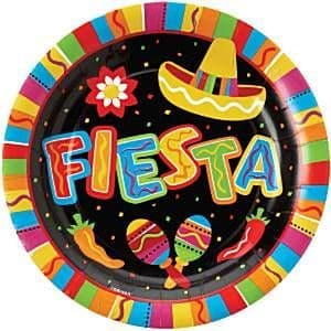Plates: Mexican Fiesta Party Large Paper Plates 27cm (8pk)