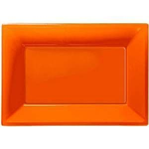 Platter: Catering Supplies Orange Plastic Platters (3pk)