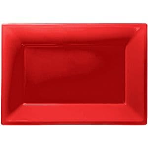 Platter: Catering Supplies Red Plastic Platters (3pk)