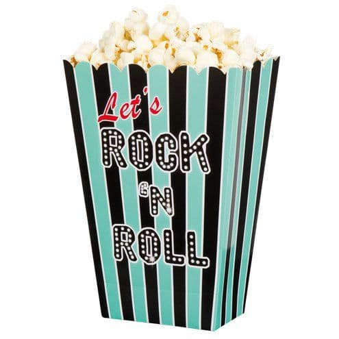 Popcorn Boxes: 50s Classic Rock n Roll Popcorn Boxes x4pk
