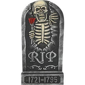 Prop: Skeleton and Rose Tombstone - 65cm