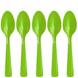 Spoons: Kiwi Green Party Plastic Spoons (20pk)