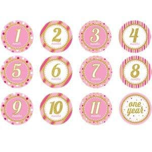 Stickers: Pink & Gold Glitter Monthly Milestone Stickers