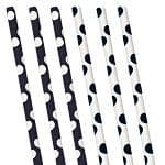 Straws: Decorative Dots Black Polka Dot Paper Straws x10pk