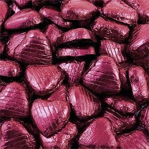 Sweets: Bulk Pack of Chocolate Hearts - Burgundy