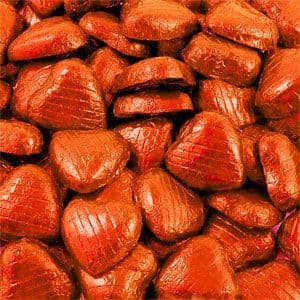 Sweets: Bulk Pack of Orange Chocolate Hearts - 500g (100pk)