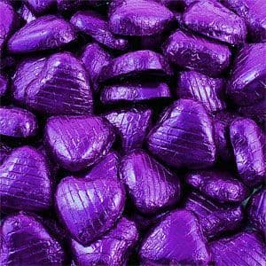 Sweets: Bulk Pack of Purple Chocolate Hearts - 500g (100pk)