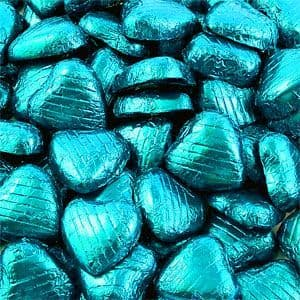Sweets: Bulk Pack of Turquoise Chocolate Hearts - 500g (100pk)