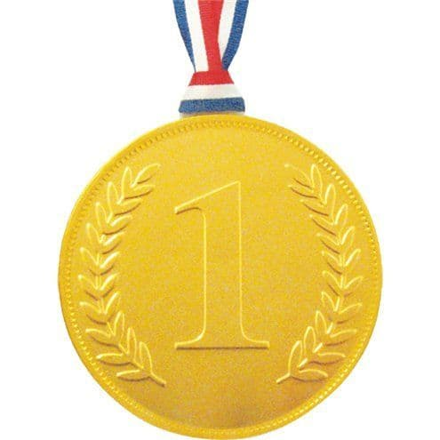 Sweets: Gold Chocolate No. 1 Medal with ribbon