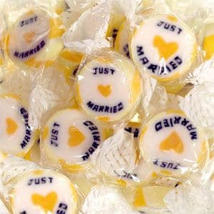 Sweets: Gold 'Just Married' Rock Sweets - 300g