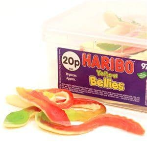 Sweets: Haribo Yellow Bellies Snakes Tub (1.118kg)