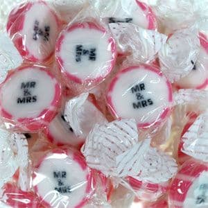 Sweets: Individually wrapped Rock Sweets with Mr and Mrs on -  Pink 300g