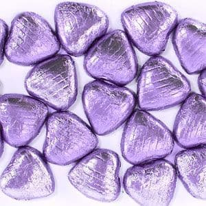 Sweets: Lilac Chocolate Hearts x20