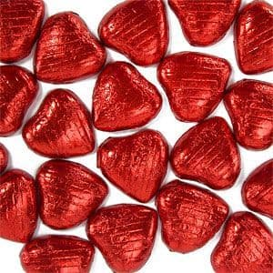 Sweets: Red Foil Chocolate Hearts (20pk)