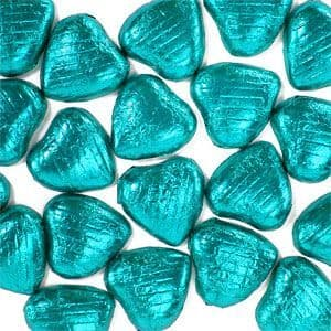 Sweets: Turquoise Foil Chocolate Hearts (20pk)