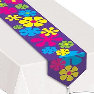 Table Cloth: 1960s Tye Dye Fun Retro Flowers Table Runner (each)