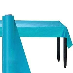Table Cloth: Caribbean Blue Plastic Table Roll 30m (100ft) - (each)