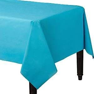 Table Cloth: Caribbean Turquoise Party Turquoise Plastic Tablecover - 1.4m x 2.8m