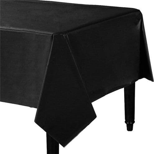 Table Cloth: Jet Black Party Plastic Tablecover (each)