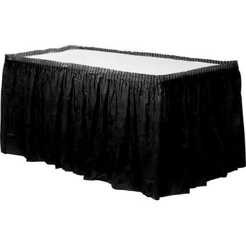 Table Cloth: Jet Black Party Plastic Tableskirt x1